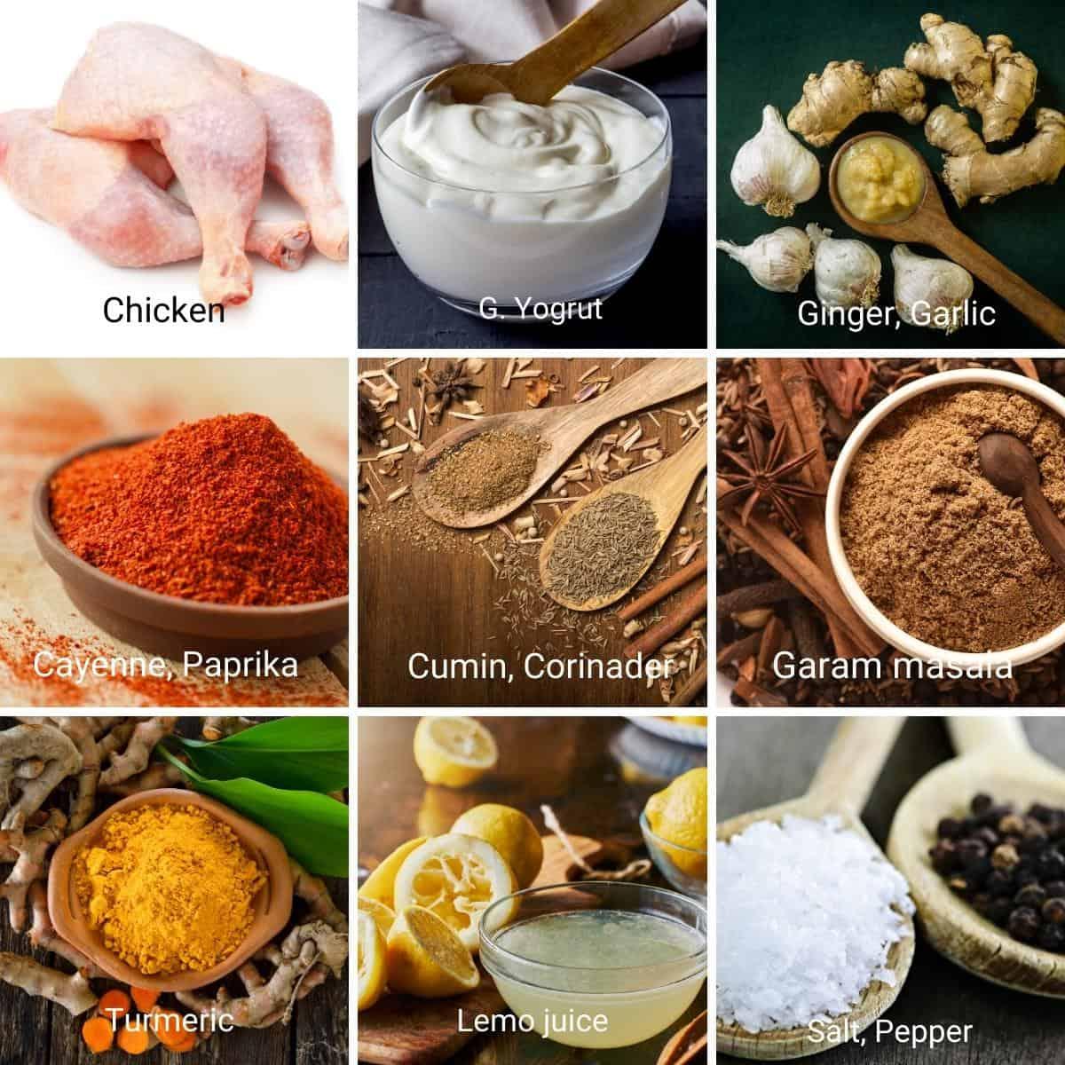 Ingredients shot collage for chicken tandoori.