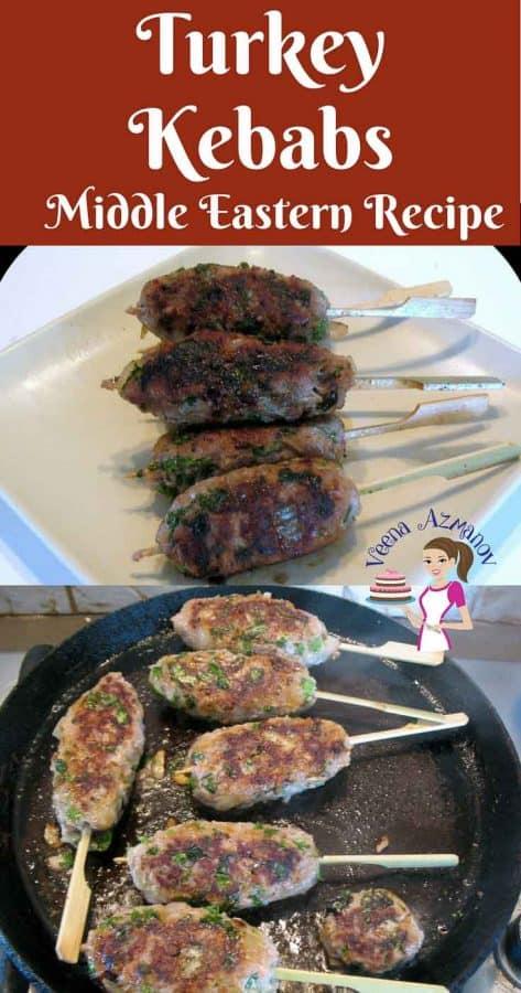 A plate with skewers of turkey kebabs.