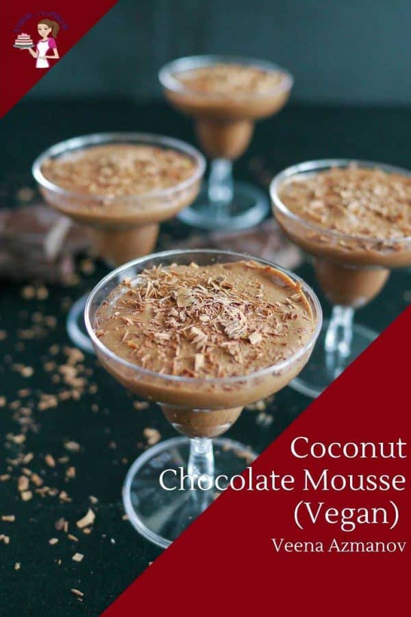 Homemade Vegan Mousse made with Chocolate and coconut.