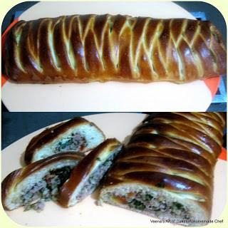 Meat stuffed pleated bread