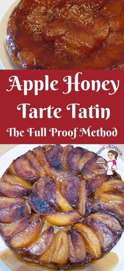 An image optimized for social media share for this Apple Honey Tarte Tatin using my no-fail easy to follow three step process.