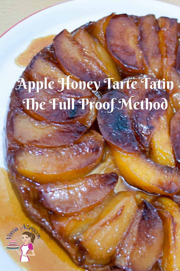 Featured Image - This golden apple honey tarte tatin also sometimes referred to as up-side down pastry is made with caramelized fruit cooked in butter and sugar then baked under a rich butter based puff pastry. The soft juicy and caramelized apples in this just melt in the mouth having absorbed all the flavors and slow cooking.
