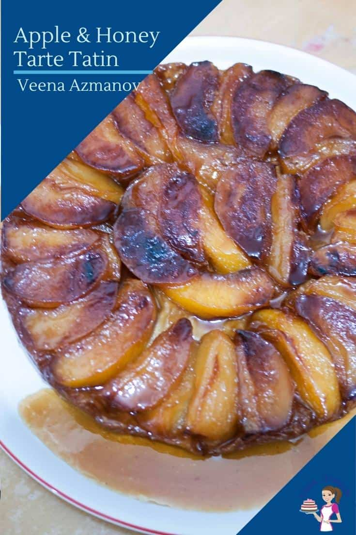 This apple Tarte-Tatin or up-side-down pastry is made with caramelized apples cooked in butter and sugar then baked under a rich puff pastry. The inverted dessert is this beautifully golden caramelized fruit on top #appletartetatin #tartetin #apple #tartetatinrecipe #applerecipes #appledessert #appletart  via @Veenaazmanov
