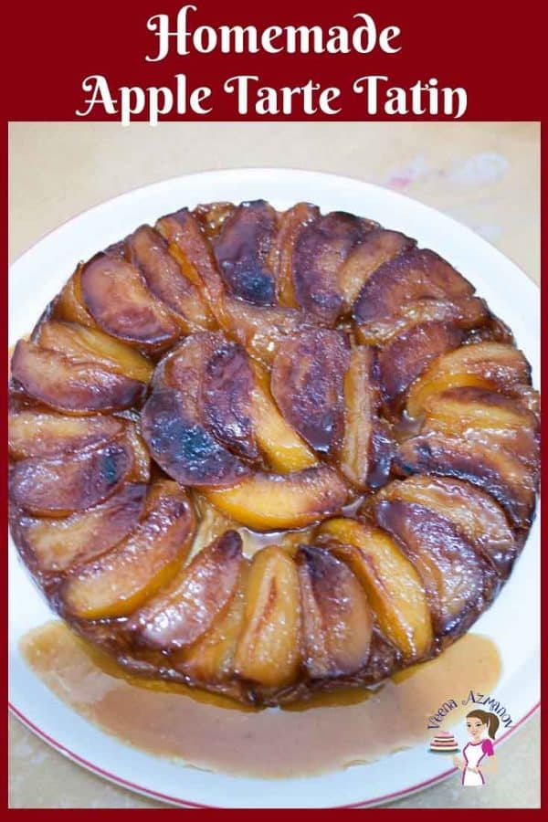Homemade Tarte Tatin made with apple and puff pastry with progress pictures