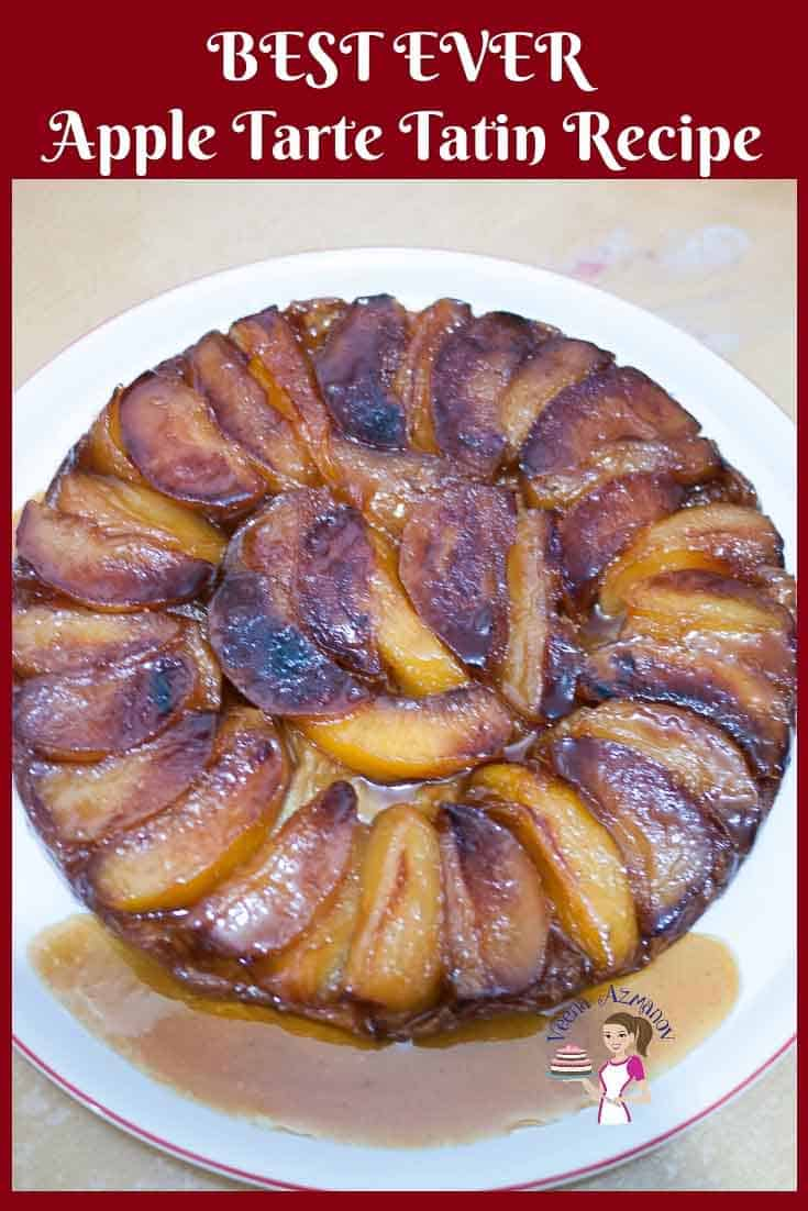 This golden apple honey Tarte Tatin also sometimes referred to as up-side-down pastry is made with caramelized fruit cooked in butter and sugar then baked under a rich butter-based puff pastry. The soft juicy and caramelized apples in this apple Tarte Tatin #apple #tartetatin #tarte #tatin #pastry #puffpastry #appletarte #roshashana #jewish #honey via @Veenaazmanov