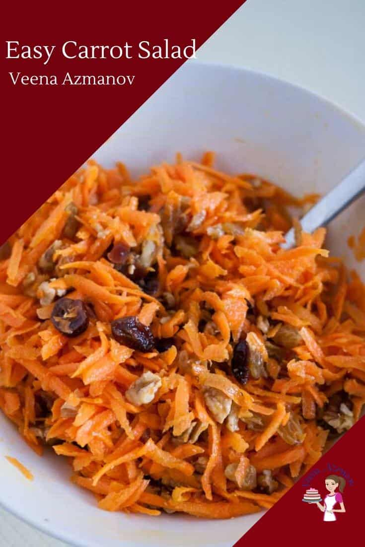 A great way to eat carrots is to make a delicious carrot salad. Throw in a few fruit and nuts along with a lemon juice and olive oil to make this simple and easy salad in less than 10 minutes.  #carrotsalad #salad #carrot #10minsalad #bestcarrotsalad #carrotsaladrecipe via @Veenaazmanov