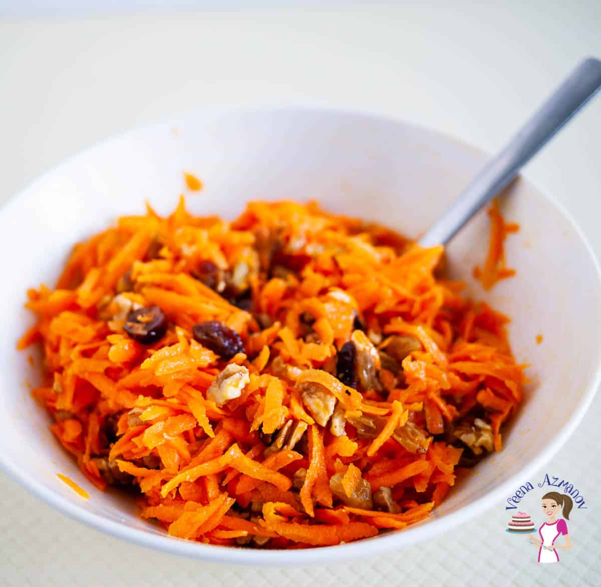 A bowl with carrot salad