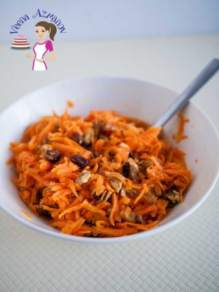 Quick Carrot Salad with Raisins cranberries and nuts