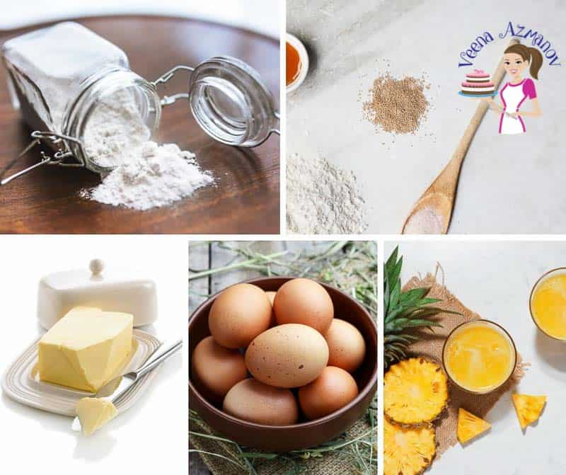 A collage of the ingredients for making Hawaiian dinner rolls.
