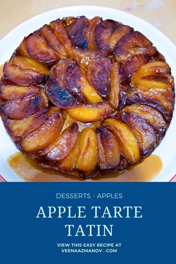 Pinterest image for upside down apple pastry.