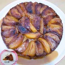 A apple tart on a plate.