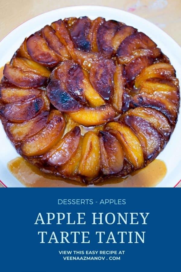 Pinterest image with apple honey tarte tatin.