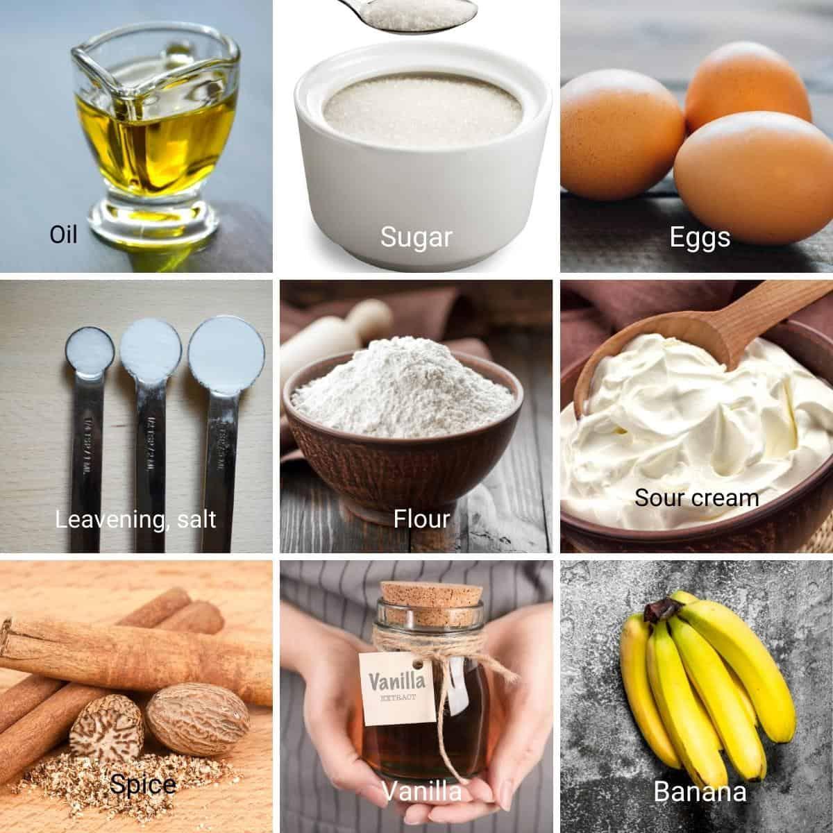 Ingredients for making a banana cake.