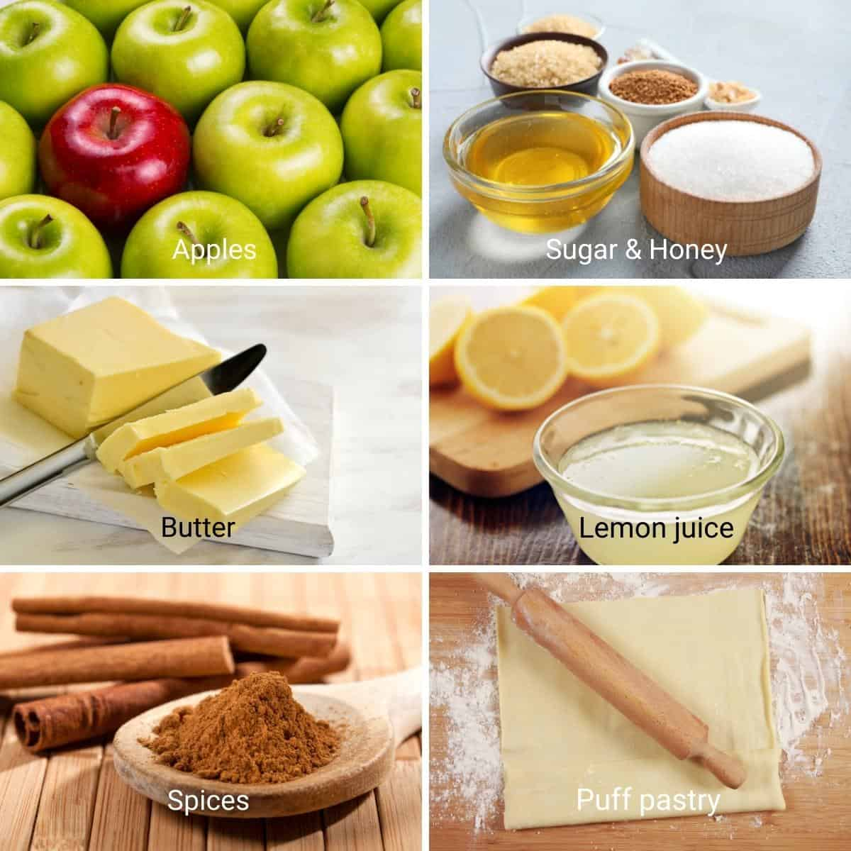 Ingredients for tarte tatin with apples.