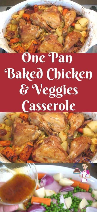 This one pan baked chicken and veggies casserole is simple easy and effortless way to get a meal on the table in less than an hour. It takes five minutes to get the ingredients you probably already have on hand and the oven does the rest of the cooking for you in an hour.