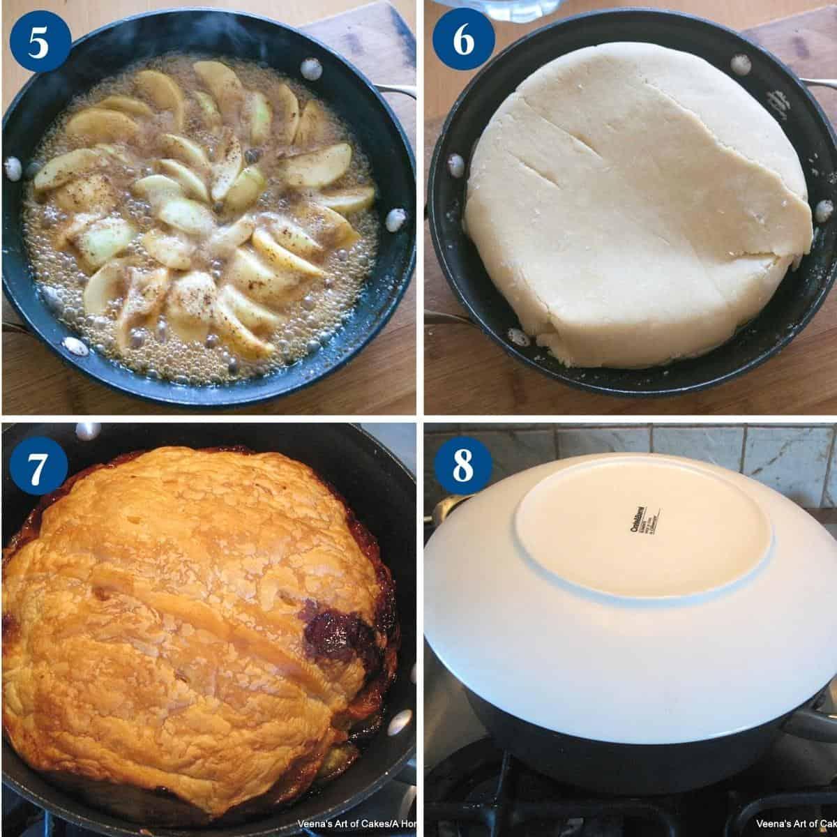 Progress pictures collage baking the tarte tatin.