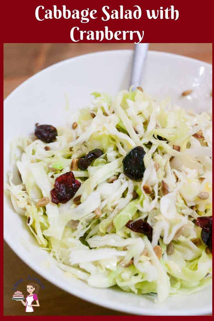 A light and refreshing yet simple and easy salad to make is this raw cabbage salad dressed with toasted sunflowers seeds and sweet cranberries. I keep the nice crunch of freshness but not the raw bite of leaves and I'll show you how with my little secret. #cabbage #salad #raw #pumpkinseeds #cranberry via @Veenaazmanov