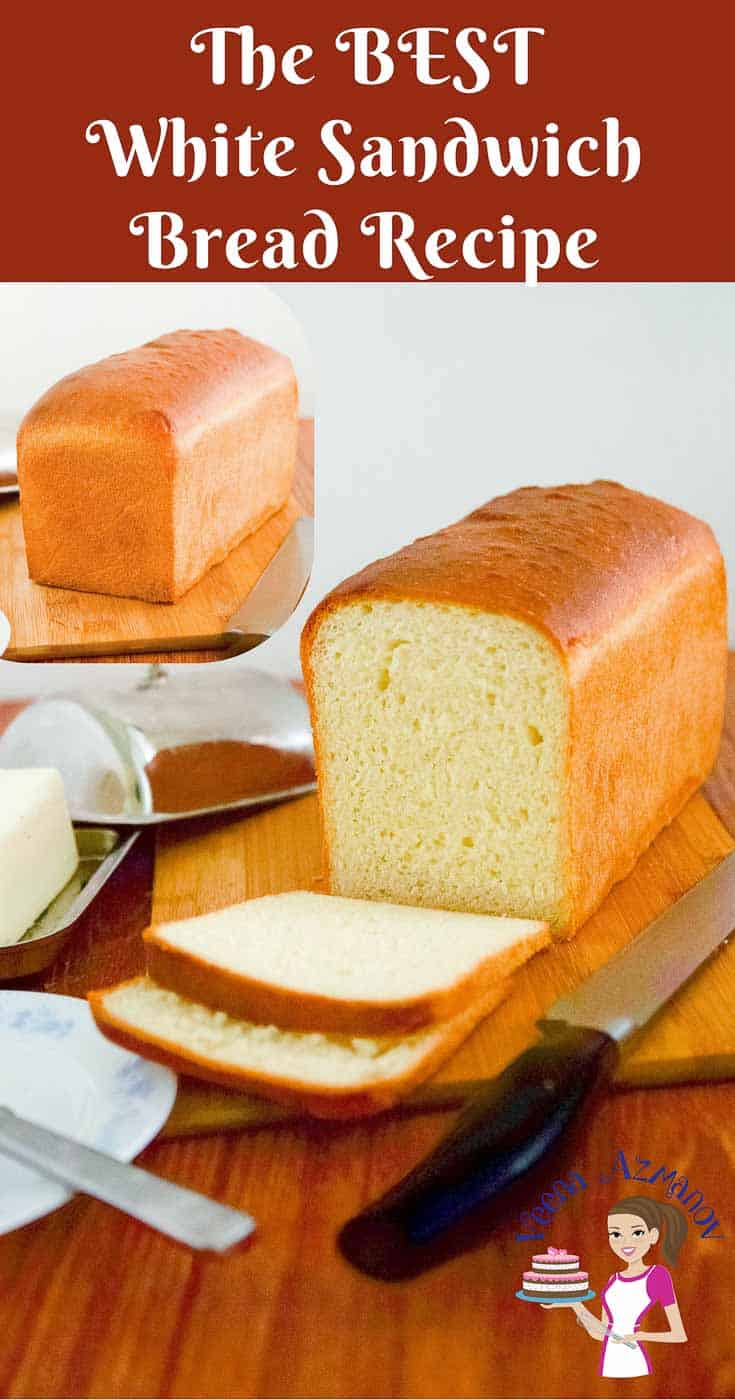 A Pinterest optimized image for white sandwich bread recipe baked from scratch. Showing the full loaf of bread as well as the cut loaf of bread