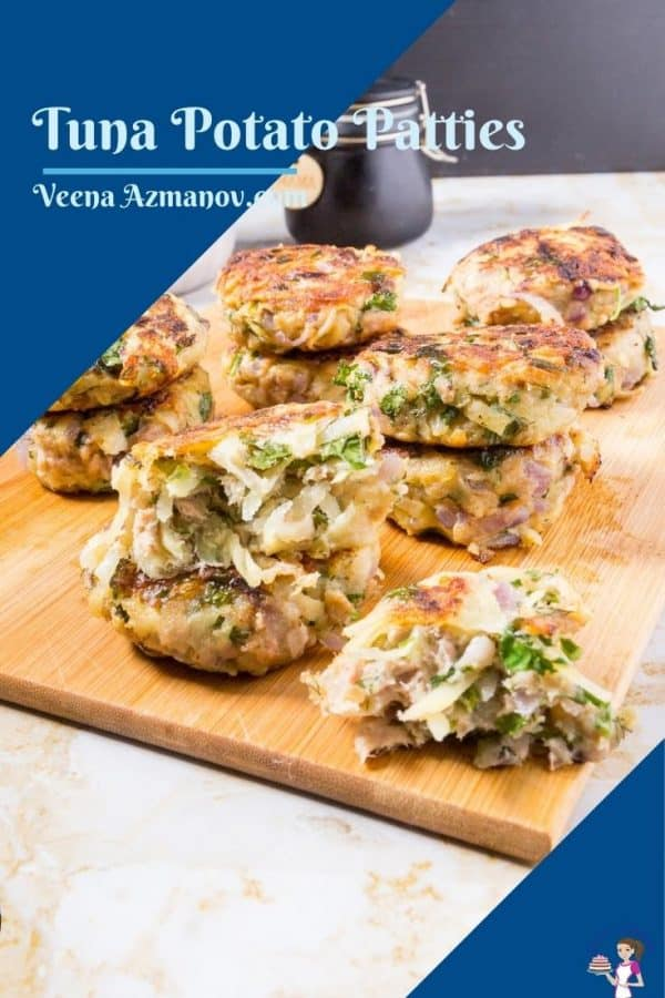Pinterest image for tuna potato patties