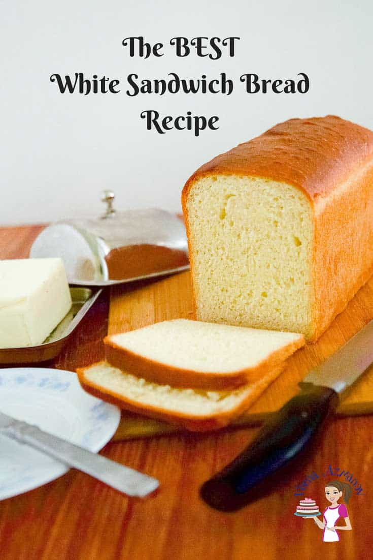 A Pinterest optimized image for this classic white bread recipe, the best white sandwich bread recipe you will ever make