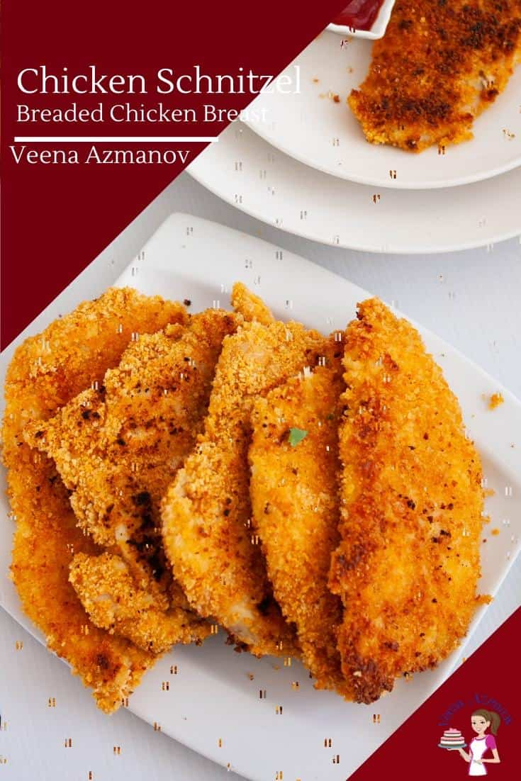 Make tender, crispy yet moist chicken schnitzel in less than 30 minutes. A quick and easy meal that's perfect for a busy weekday meal, lazy weekends or to impress family and friends. #chicken #schnitzel #chickenbreast #chickenschnitzel #chickenrecipes #recipes via @Veenaazmanov