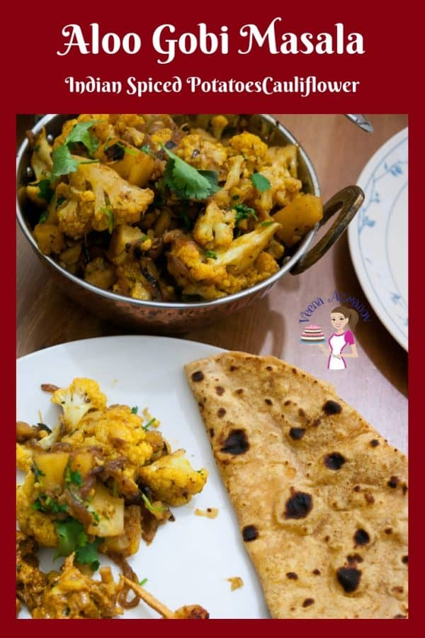 An image optimized for social media share for this classic aloo gobi masala recipe also called Indian spiced potatoes and cauliflower