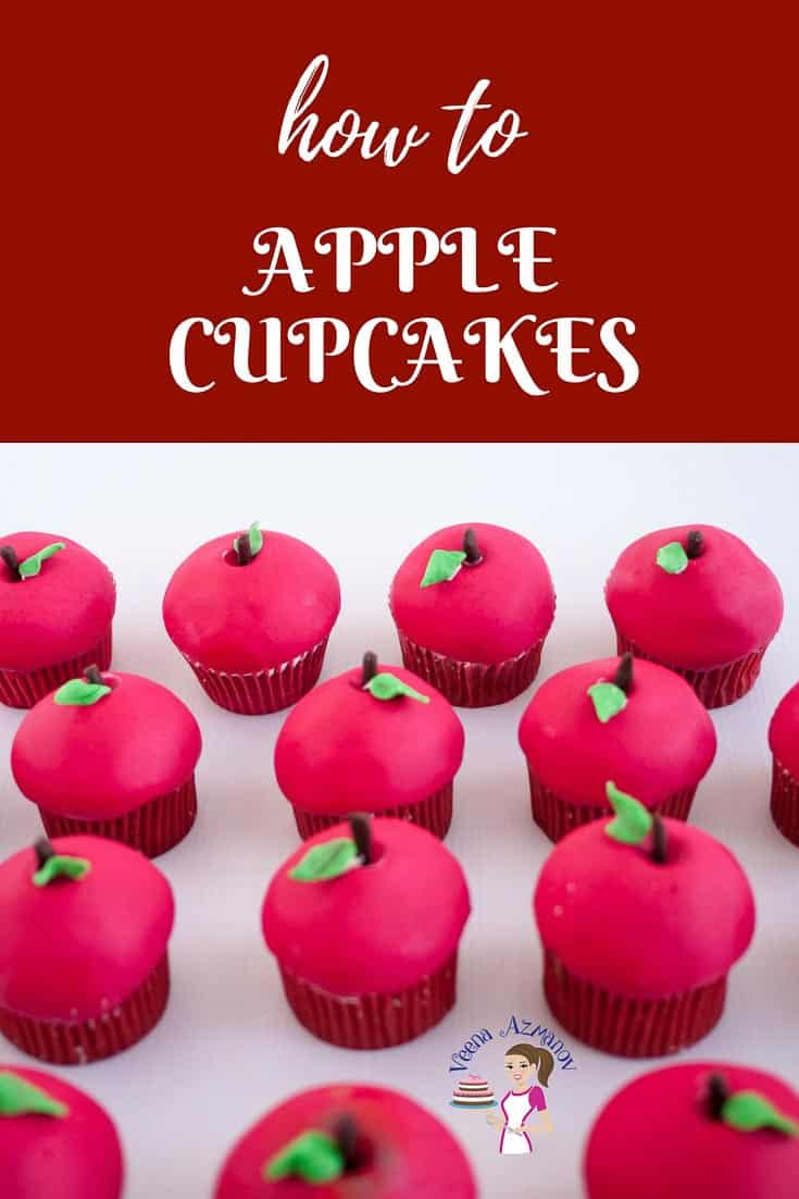 An image optimized for these Fondant Apple Cupcakes for Ros Ha Shana or Jewish New Year