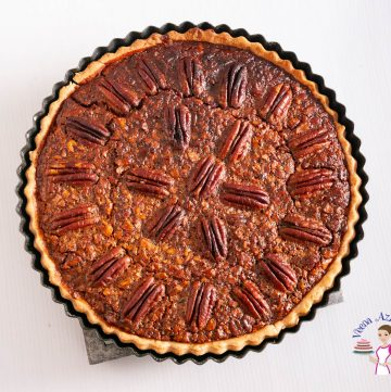 Pecan pie in a pie pan.