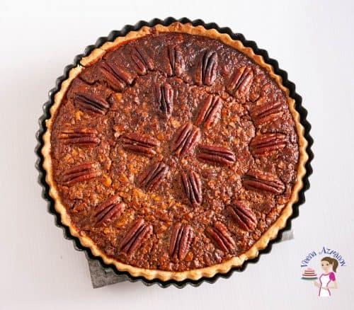 Pecan pie in a pie pan.