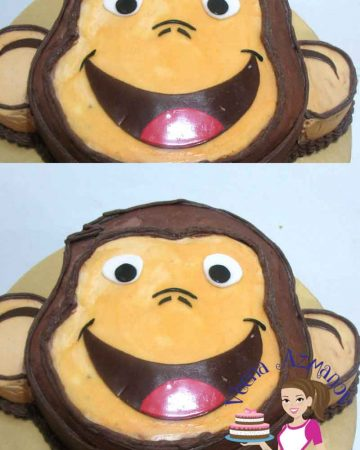 A Curious George Face Cake would be a fun cake for any kids that loves the program.  It's a simple, easy and effortless cake that does not need any special equipment or special skills to make it. Here are a few progress pictures for you on how I did the cake.