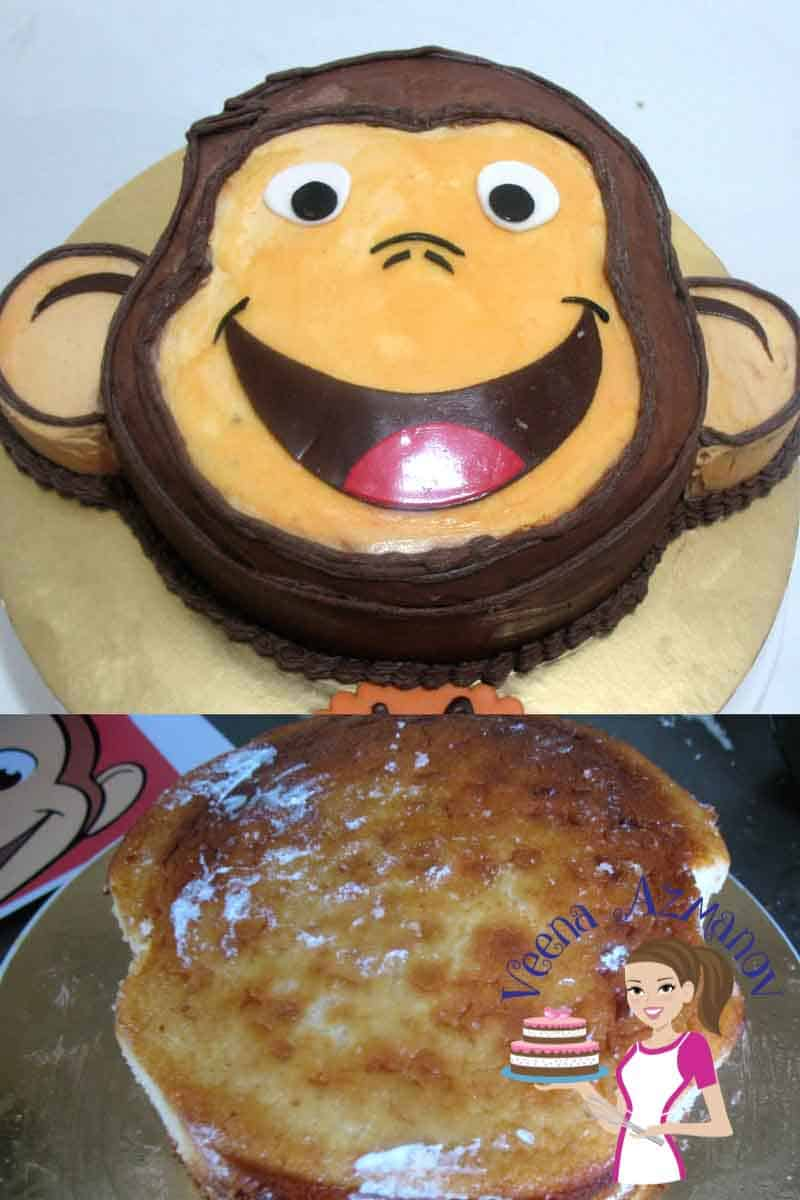 Curious george face cake cake decorating tutorials for Monkey face template for cake