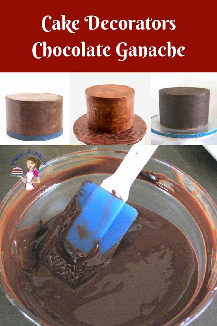 Making chocolate ganache for cake decorating.