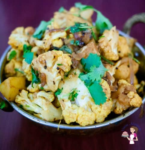 A indian pot with aloo gobin