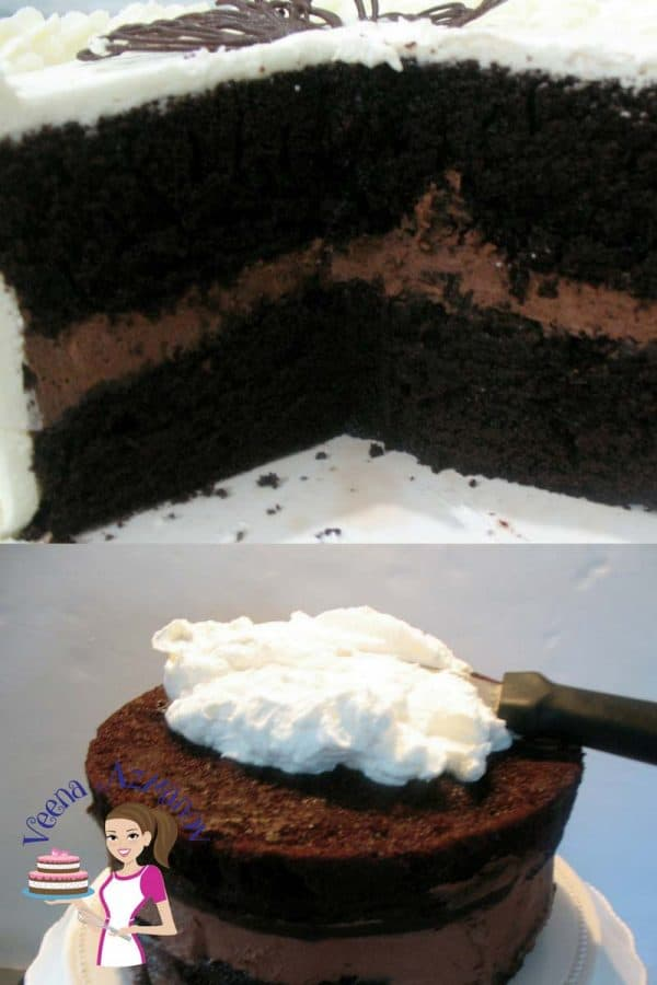 A light and refreshing cake with whipped cream. Perfect when you want something rich and yet light. Made with my popular chocolate chiffon cake as a base and filled with chocolate whipped cream then covered with more whipped cream. These layers are moist and indulgent yet light and refreshing