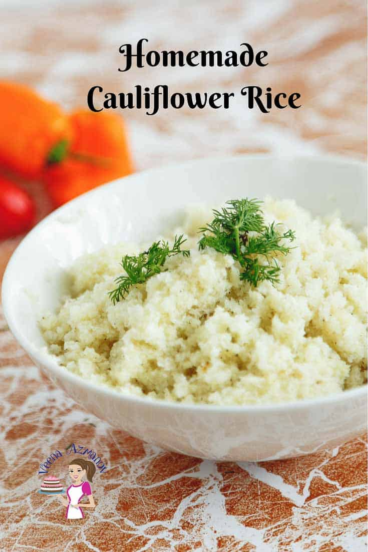 A Pinterest Optimized Image for How to make Rice Cauliflower at home