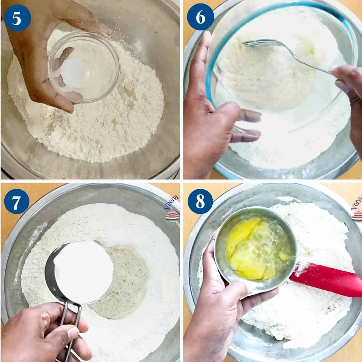 Progress pictures collage making the naan bread dough.