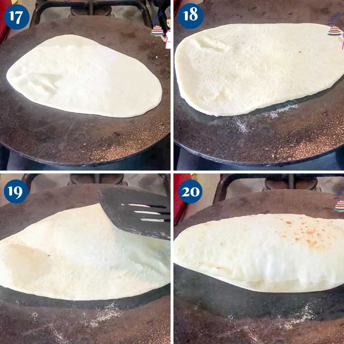 Progress pictures collage cooking the naan bread.