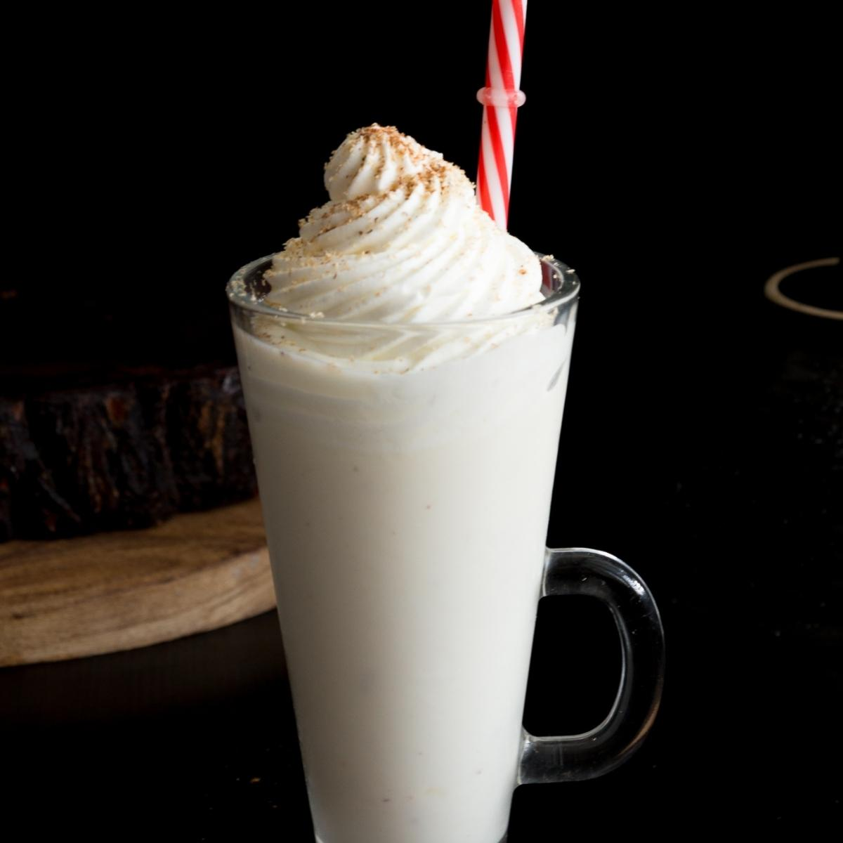 Drink topped with stabilized whipped cream