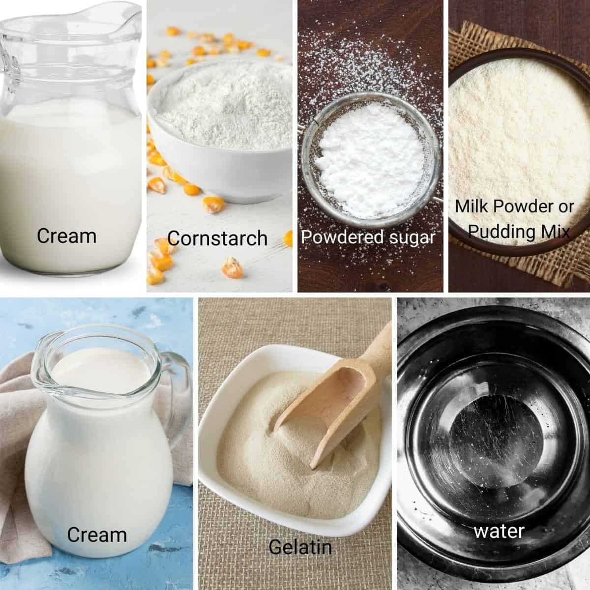 Ingredient shot collage - how to make stabilized whipped cream.