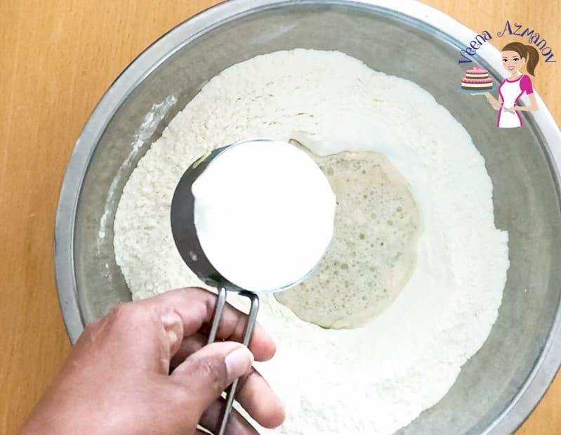 Preparing the naan bread dough - progress pictures