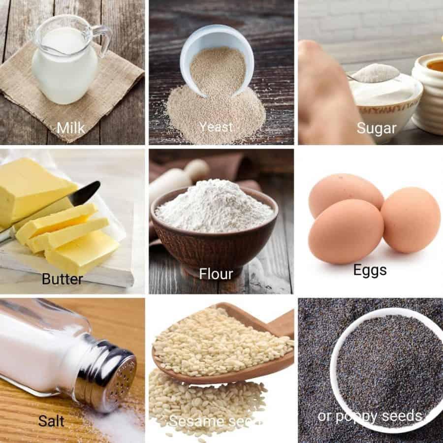 Ingredients shot collage for hamburger buns.
