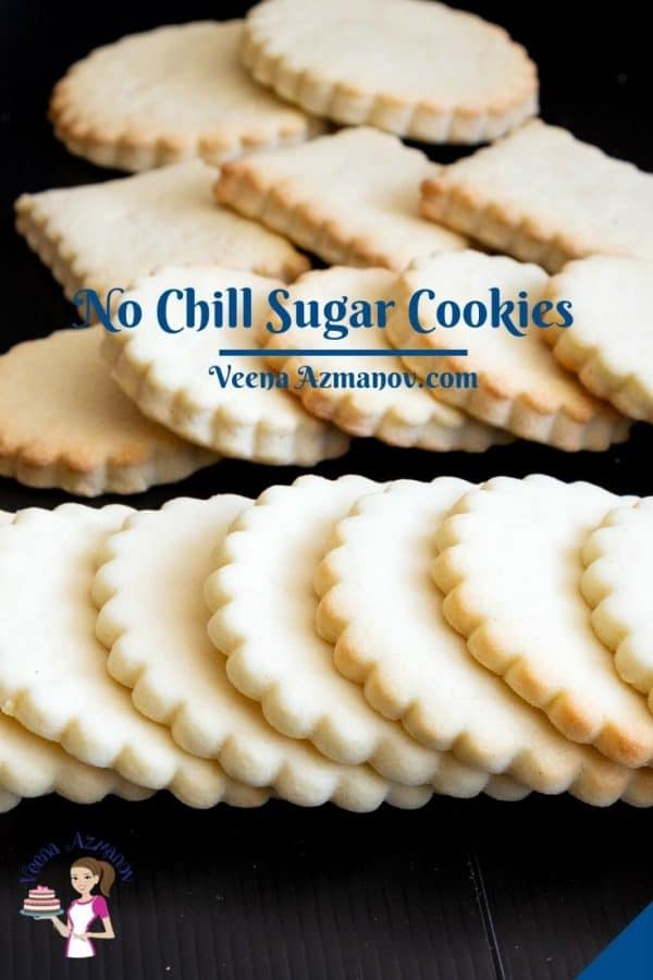 Pinterest image for sugar cookies, no chill.
