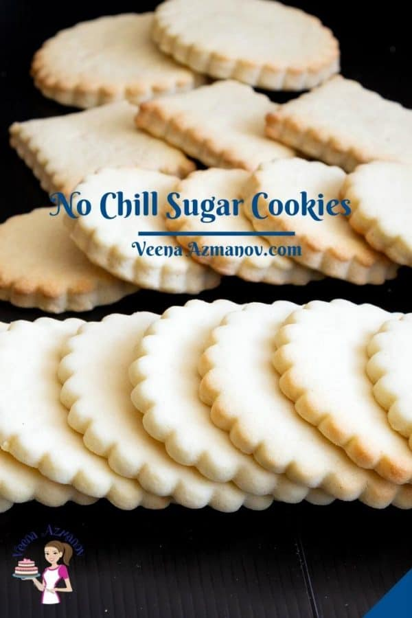 Pinterest image for No chill sugar cookies.