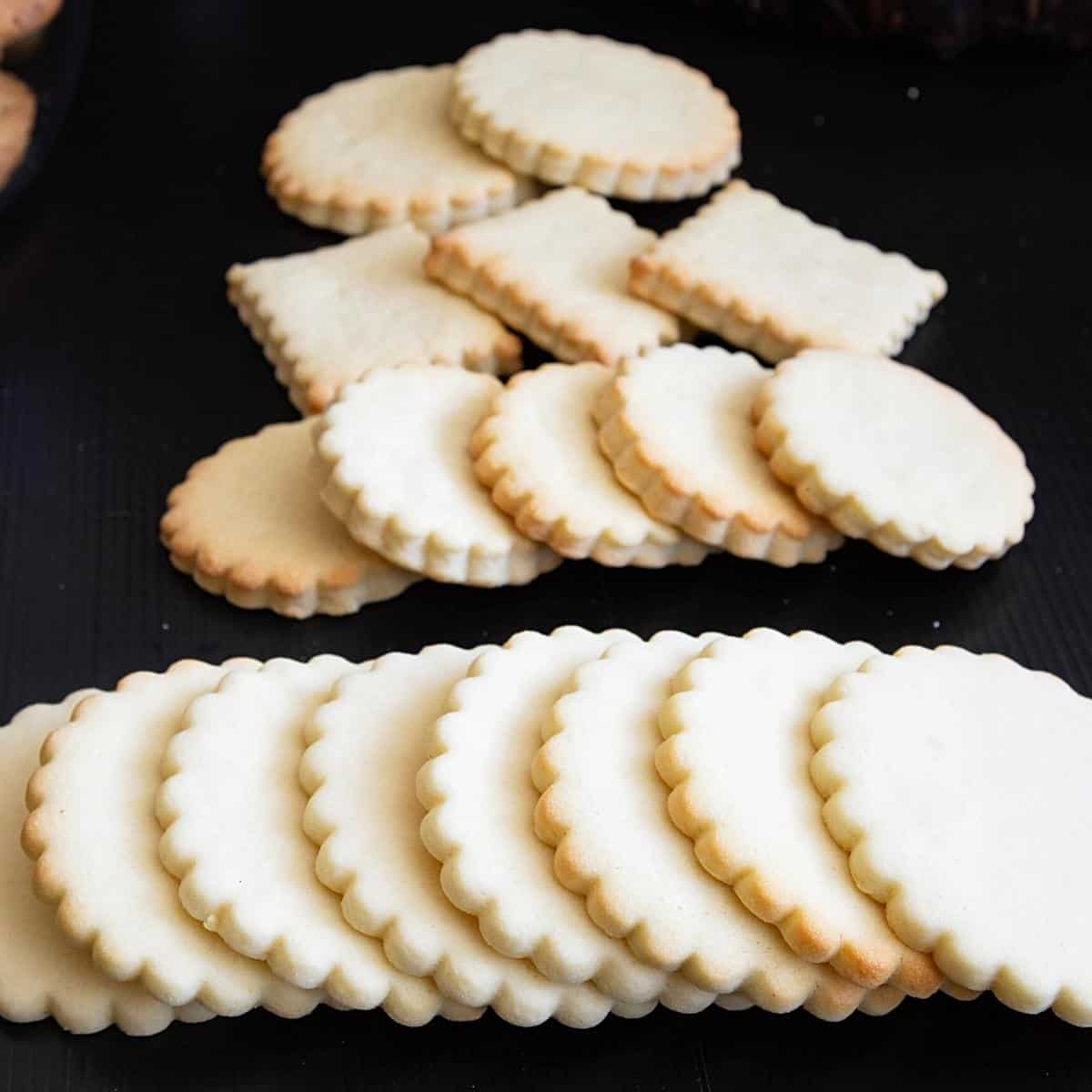 Cookies spread on a table.