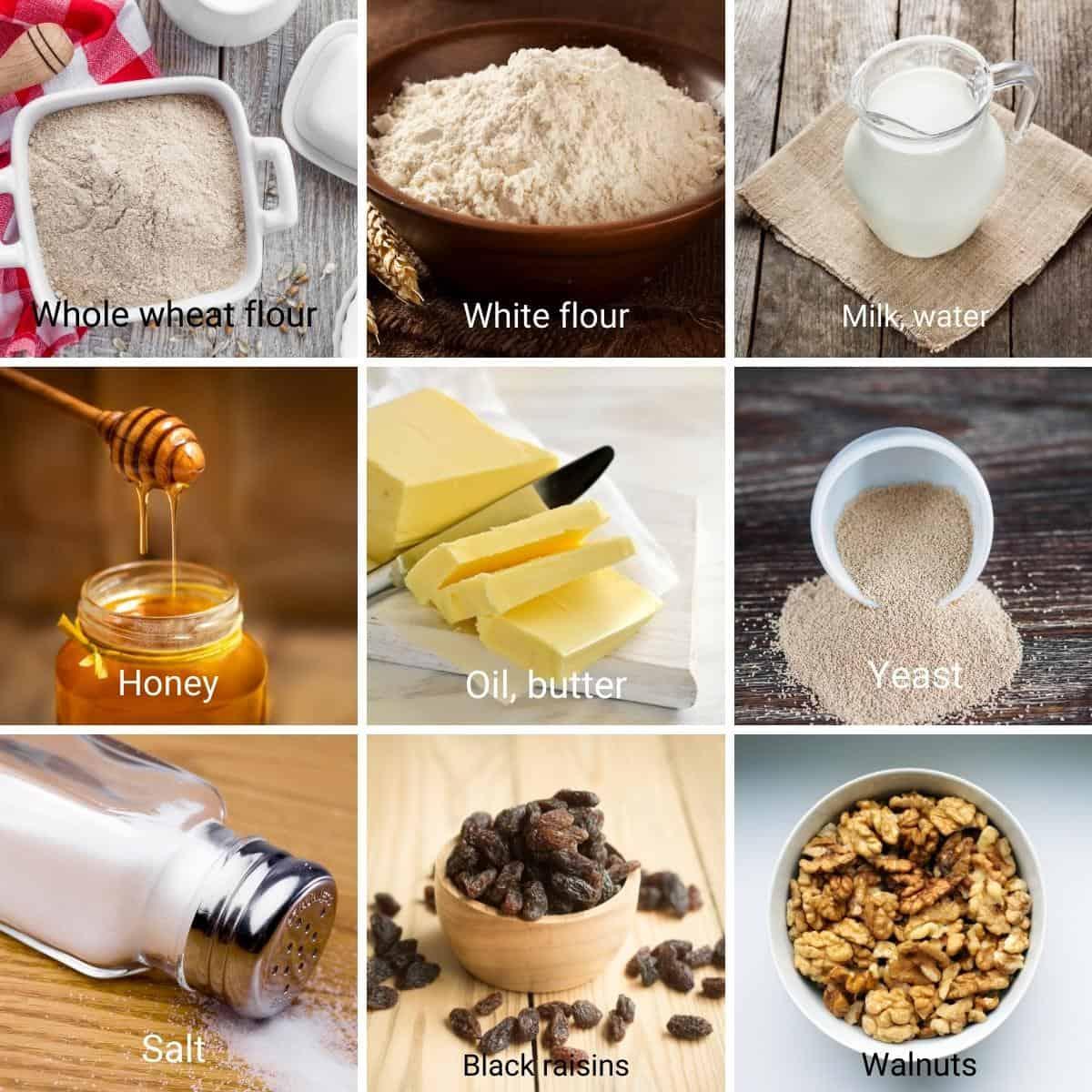 Ingredient shot collage for raisin walnut bread.
