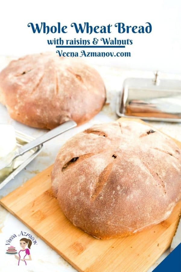 Raisin walnut bread Pinterest image.