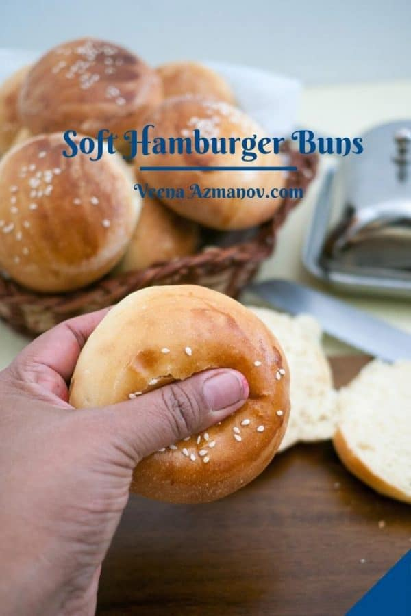 Pinterest image - buns for hamburgers.