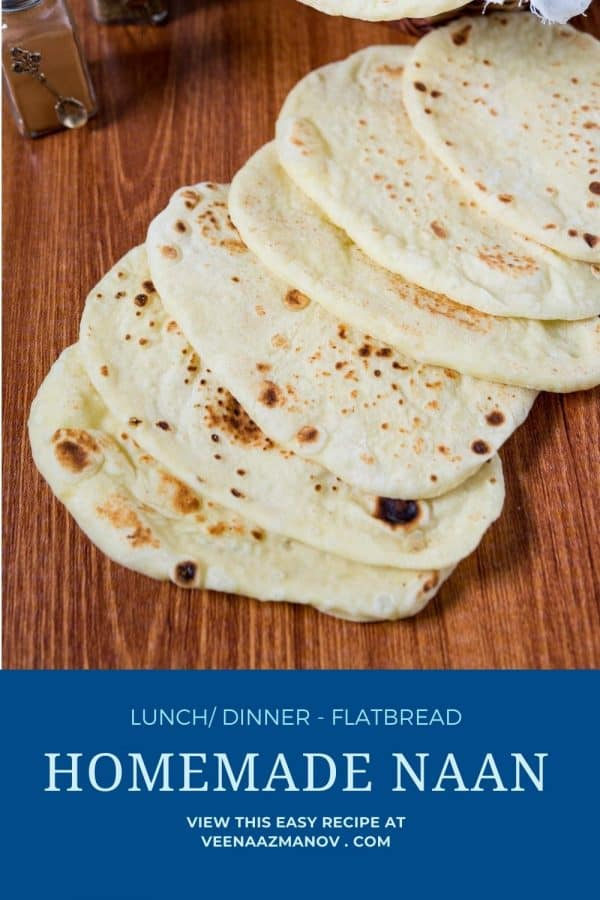Pinterest image for naan homemade.