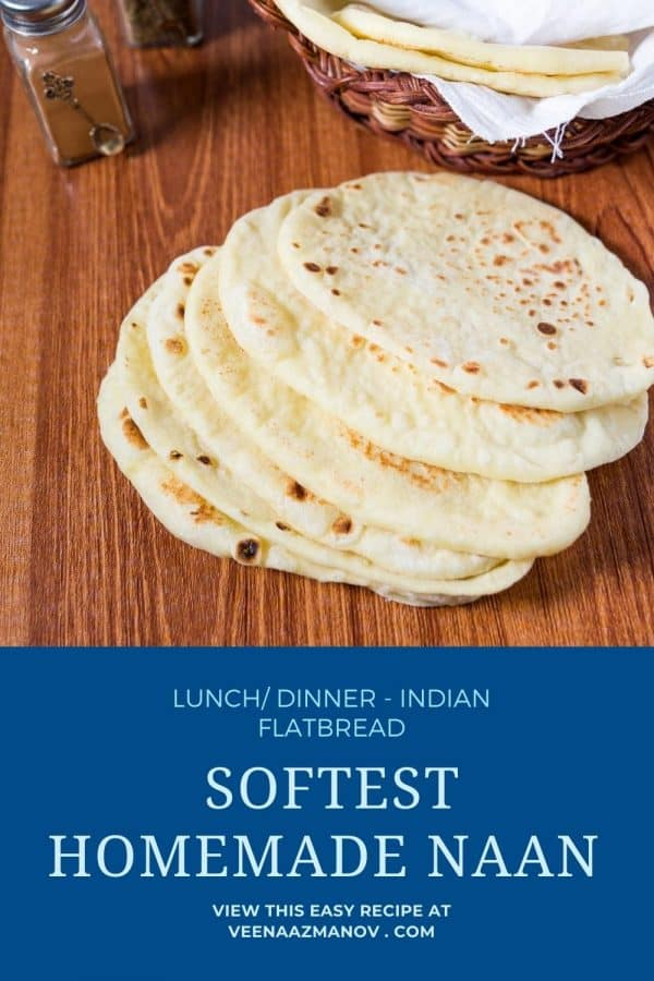 Pinterest image for naan recipe.