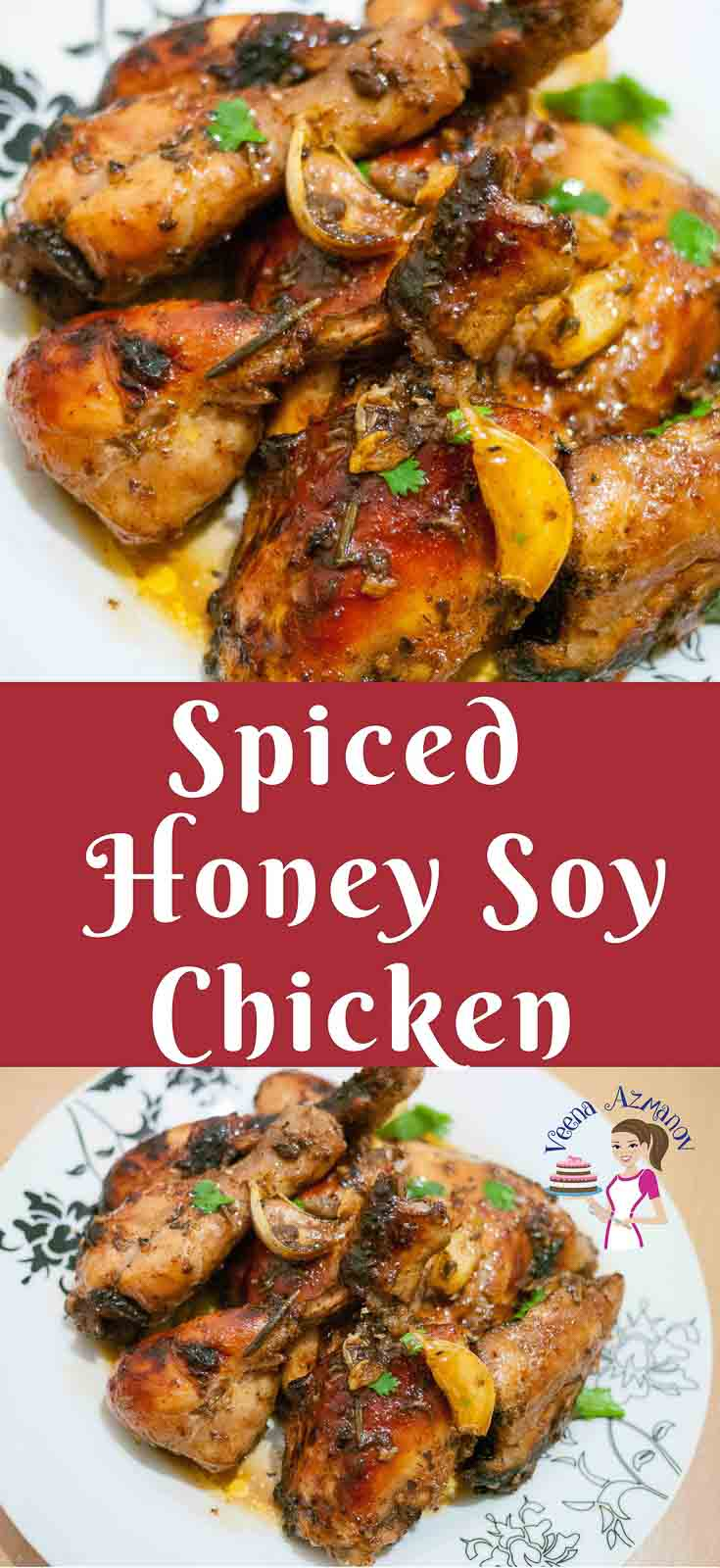 This spiced honey soy chicken is a perfect blend of hot and sweet. Marinated with ginger, garlic and some warm spices this chicken is full of flavor and color. Simple easy and effortless recipe that can be made on a busy week night or lazy weekend lunch.